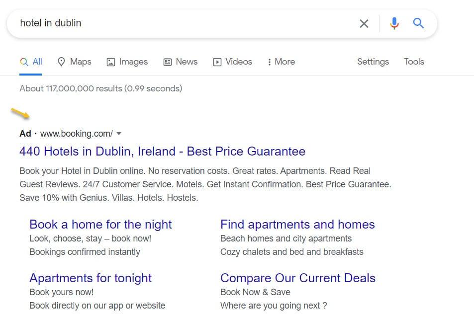 Hotel search ad