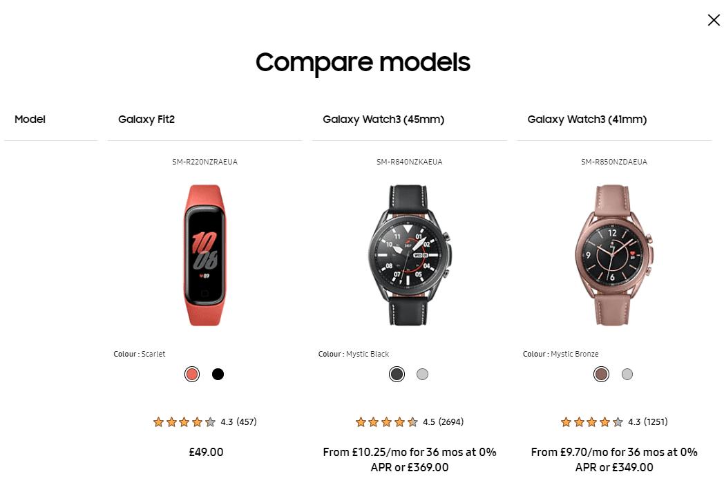 Samsung allows model comparisons