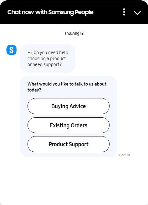 Samsung live chat