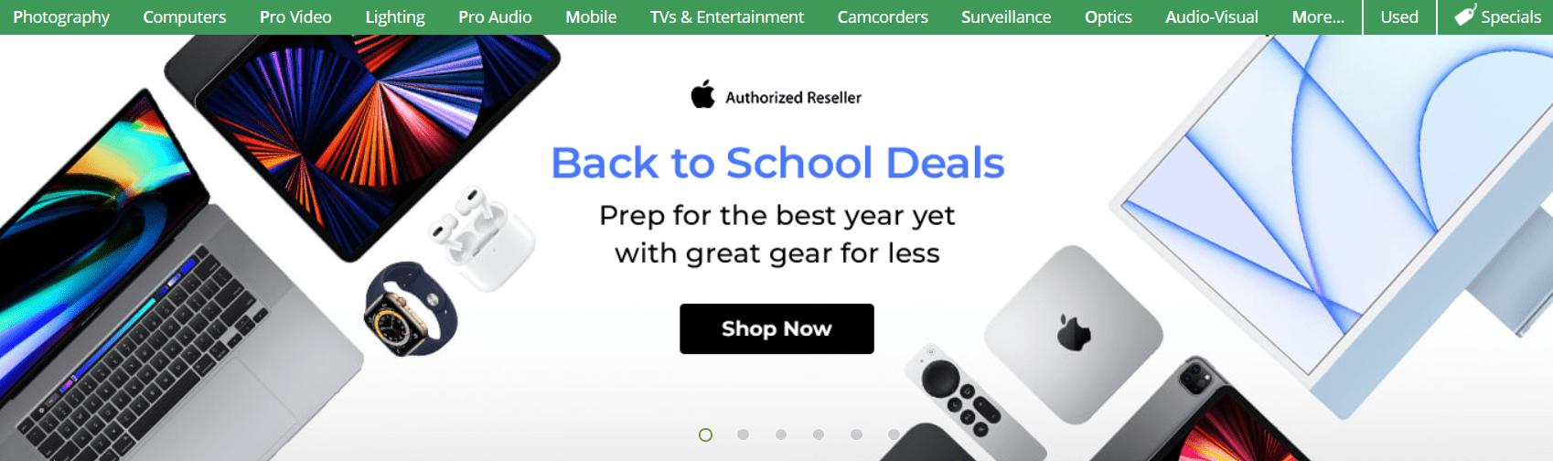 Back to school deals example
